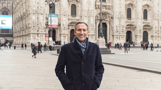 Howard Schultz, chairman and ceo Starbucks Coffee Company, announces to Milanese artisans, entrepreneurs and business leaders his intention to open a store in Milan, Italy in 2017.