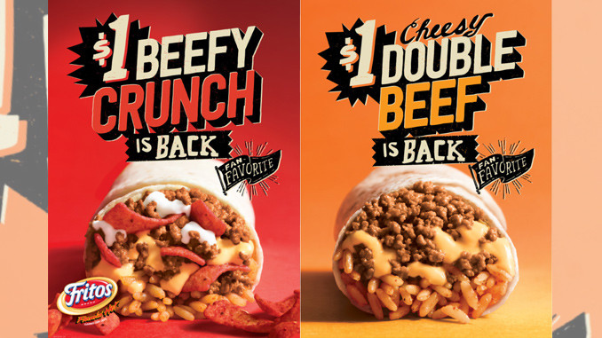 Taco Bell brings back the Beefy Crunch Burrito and Cheesy Double Beef Burrito