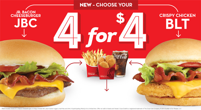 Wendy S 4 For 4 Meal Now Includes Crispy Chicken Blt Chew Boom