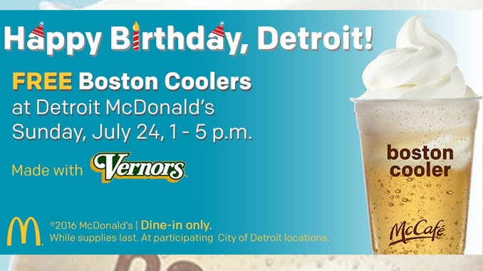 Free Boston Coolers at Detroit McDonald's on July 24, 2016