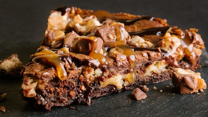 Pie Five's new Cheesecake Brownie is made with a Snickers bar