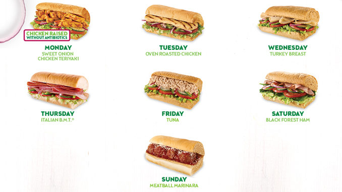Subway Offers $3.50 Sub Of The Day Promotion