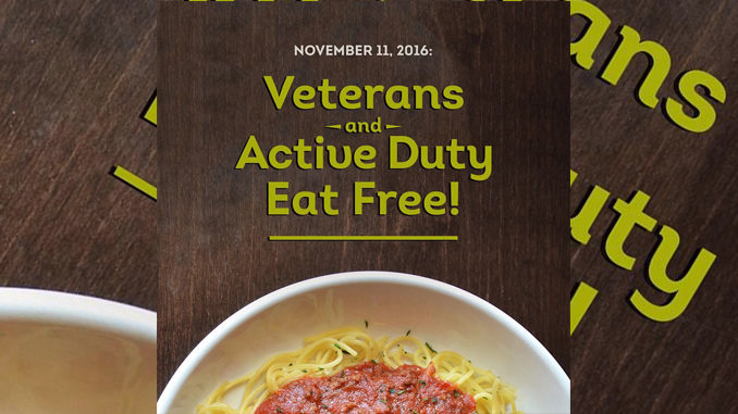Free Meals For Veterans And Active Military At Olive Garden On November 11, 2016