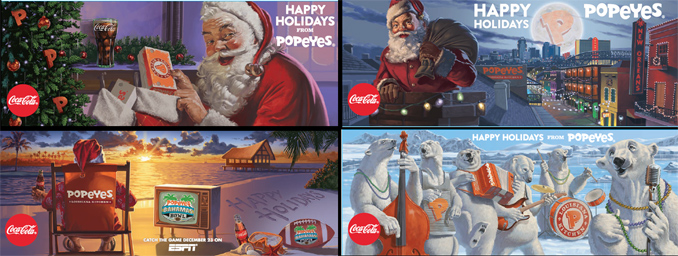 Popeyes 2016 Holiday Collector Cup Designs