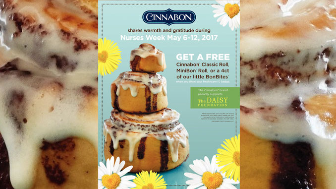 Free Treats For Nurses At Cinnabon From May 6 Through May 12, 2017