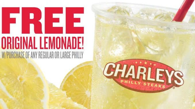 Free Lemonade At Charleys On August 20, 2017 With Philly Purchase
