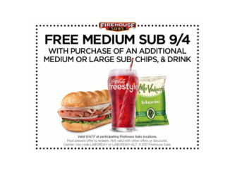 Free Medium Sub Offer At Firehouse Subs On September 4, 2017