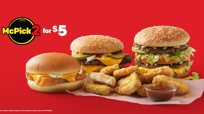 McPick 2 For $5 Deal Is Back At McDonald's