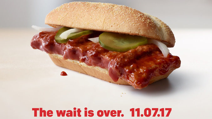 the mcrib returns at select mcdonald s locations on november 7 2017