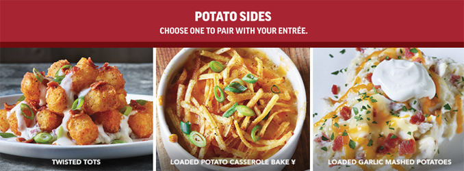 Applebee's Twisted Potato Side Choices