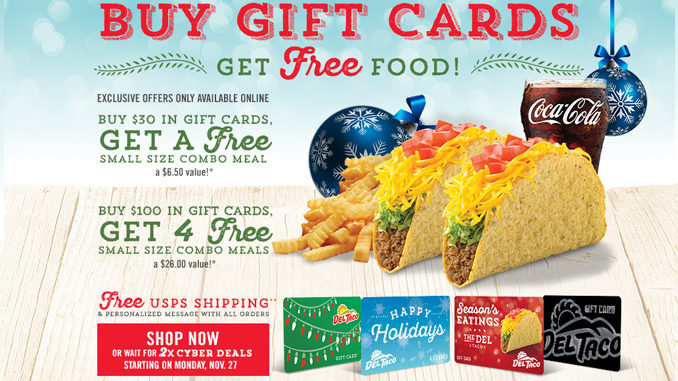 Buy Del Taco Holiday Gift Cards, Get Free Food Through January 1, 2018