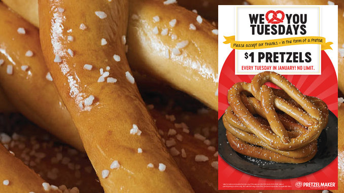 $1 Pretzels Every Tuesday In January At Pretzelmaker