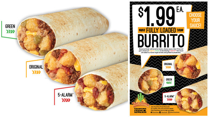$1.99 Fully Loaded Burritos At TacoTime Through February 27, 2018