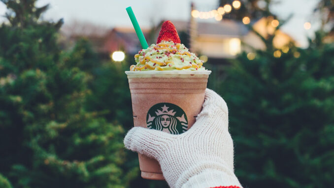 Starbucks Pours New Christmas Tree Frappuccino Through December 11, 2017
