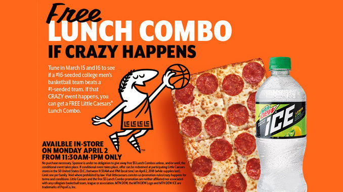 Free Lunch Combo At Little Caesars If A #16-seeded Team Beats A #1-Seeded Team In Men's College Basketball Tournament