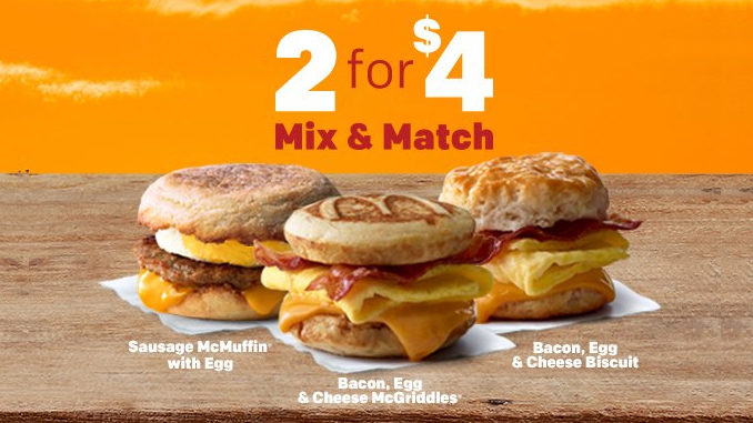 McDonald's Serves Up 2 Breakfast Sandwiches For $4 As Part Of New 2 for $4 Mix & Match Deal