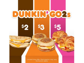 Dunkin' Donuts Launches New $2, $3 And $5 Value Menu Called Dunkin' Go2s