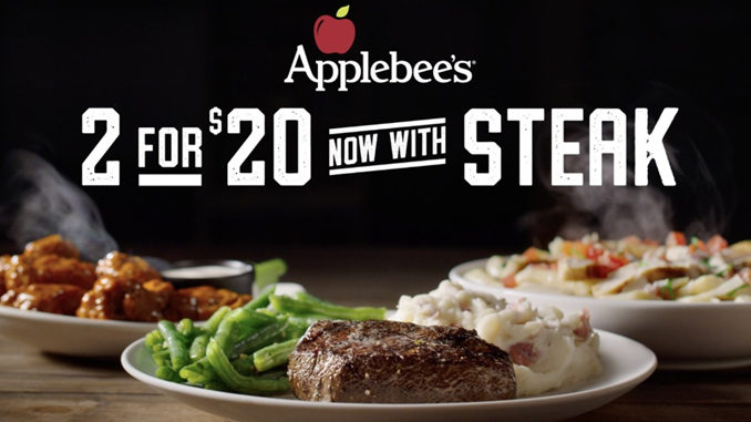 Applebee's 2 for $20 Menu Returns With Steak As Entree Option