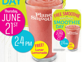 Free Lunar Lemonade Smoothie At Planet Smoothie From 2-4 P.M. On June 21, 2018