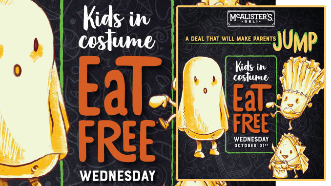 Kids In Costume Eat Free At McAlister's On October 31, 2018 With Adult Entree Purchase