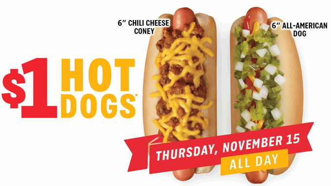 $1 Hot Dogs At Sonic On November 15, 2018