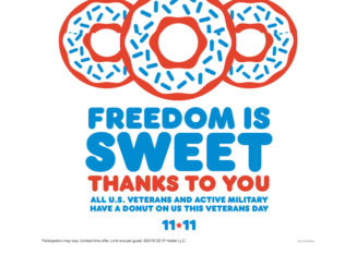 Free Donut For All Veterans And Active Duty Military At Dunkin' on November 11, 2018