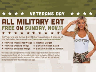 Free Entree For All Active-Duty Military And Veterans At Hooters On November 11, 2018