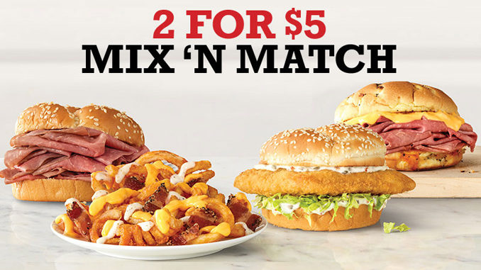Arby's 2 For $5 Mix 'N Match Deal Is Back For A Limited Time