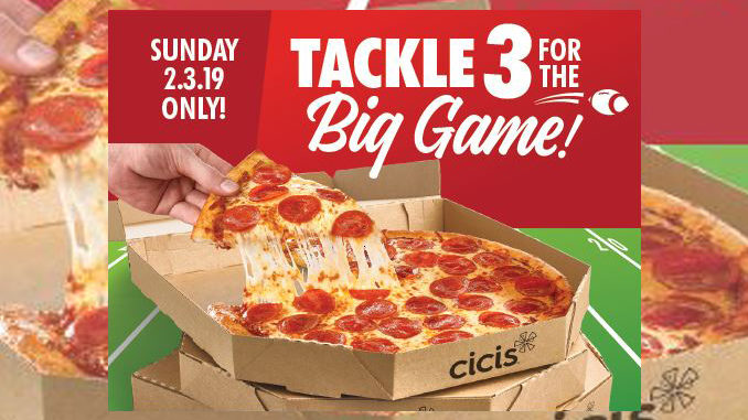 Cicis Offers 3 Medium 1-Topping Pizzas For $12 On February 3, 2019