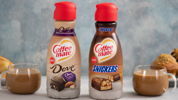 New Coffee Mate Snickers And Dove Dark Chocolate Almond Flavored Creamers Have Arrived