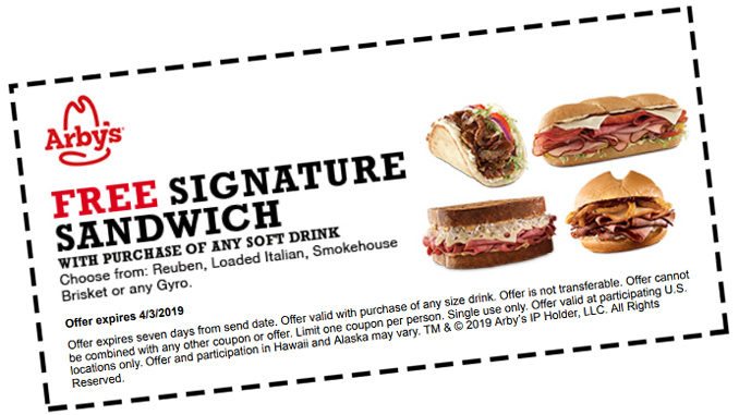 Arby's Offers Free Sandwich With Any Soft Drink Purchase When You Join Arby's Email List