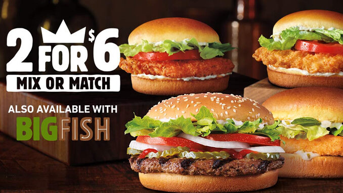 Burger King Adds Big Fish Sandwich To Its Returning 2 For $6 Mix Or Match Deal