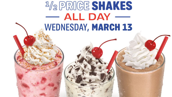 Half-Price Shakes At Sonic On March 13, 2019