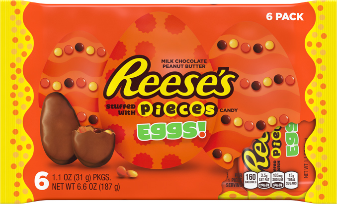 Reese's stuffed with Reese's Pieces Eggs