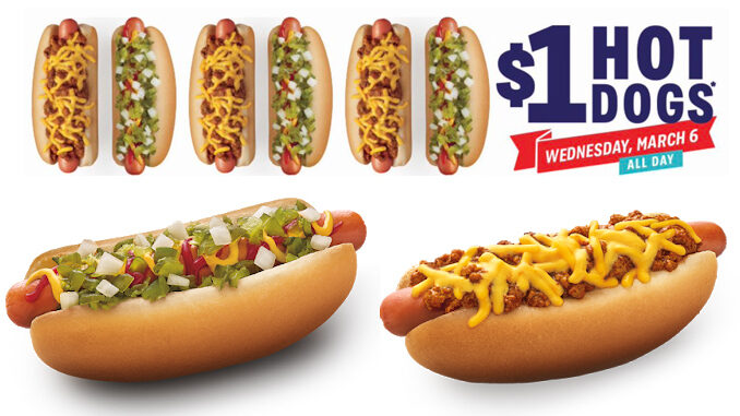 Sonic Offers $1 Hot Dogs On March 6, 2019