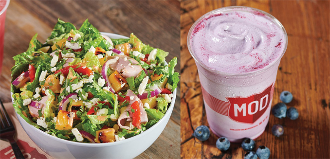 Roasted Pineapple Salad and Blueberry Milkshake