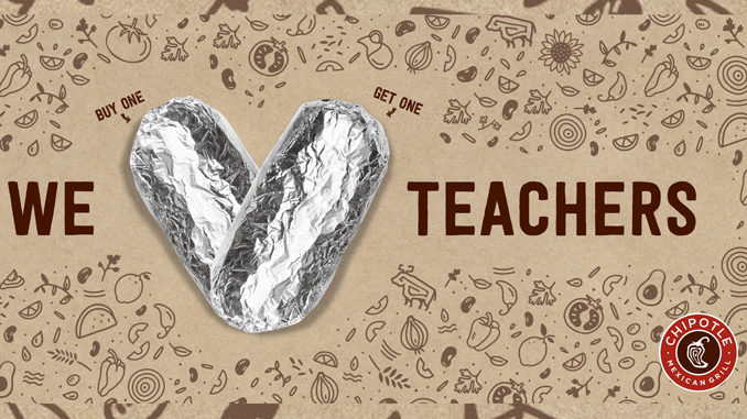 Buy One, Get One Free Entree For Teachers At Chipotle On May 7, 2019
