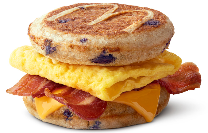 Bacon, egg, and cheese Blueberry McGriddles breakfast sandwich