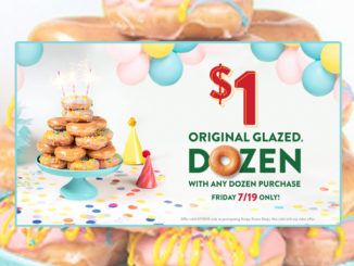 Buy Any Dozen, Get A Dozen Original Glazed Doughnuts For $1 At Krispy Kreme On July 19, 2019