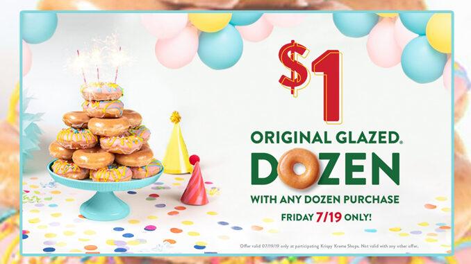 Buy Any Dozen, Get A Dozen Original Glazed Doughnuts For $1 At Krispy Kreme On July 19, 2019