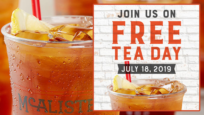 Free Tea Day At McAlister's Deli On July 18, 2019