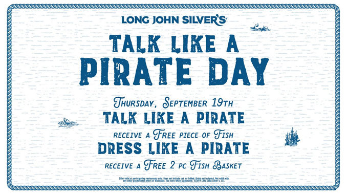 Talk Like A Pirate For Free Fish At Long John Silver's On September 19, 2019