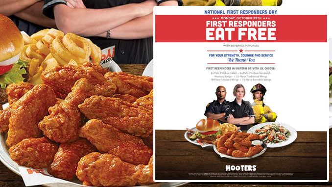 Free Entree For First Responders At Hooters On October 28, 2019