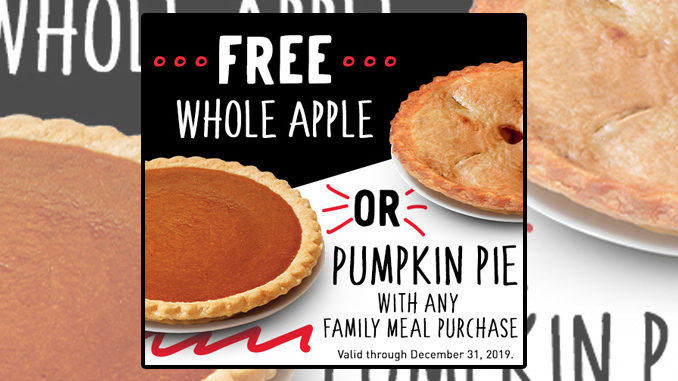Free Whole Apple Or Pumpkin Pie With Any Family Meal Purchase At Boston Market Through December 31, 2019