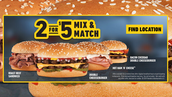 Hardee's Offers New 2 for $5 Mix And Match Deal
