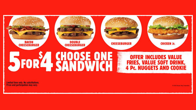 Burger King Expands 5 For $4 Meal Deal Entree Options