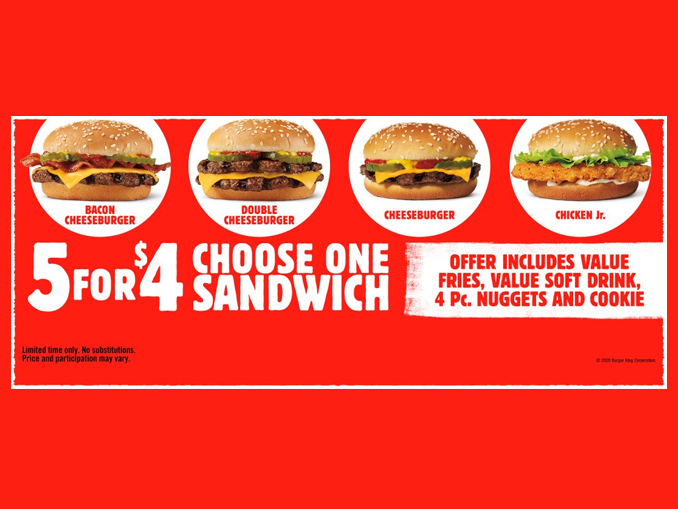 Burger King Adds 3 Sandwiches To 5 For 4 Meal Deal Chew Boom