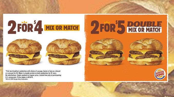 Burger King Puts Together New 2 for $5 Double Mix Or Match Croissan'wich Breakfast Sandwiches Deal