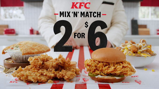 KFC Welcomes Back 2 For $6 Mix 'N' Match Deal For A Limited Time