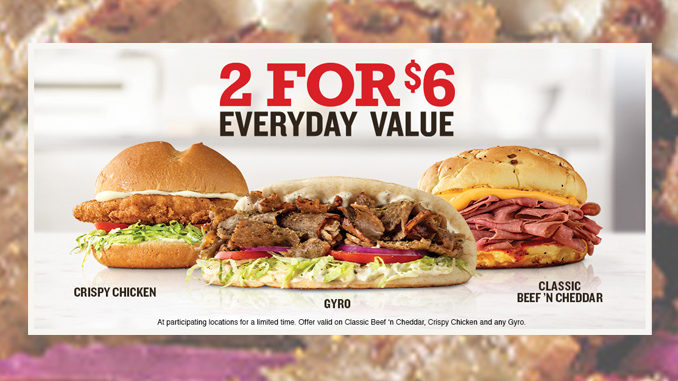 Arby's Adds Traditional Greek Gyro To 2 For $6 Everyday Value Deal
